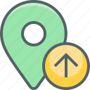 arrow, direction, location, navigation, pointer, up, upload icon