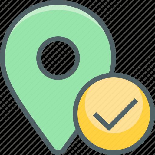 accept, check, direction, location, mark, navigation, oke icon
