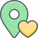 bookmark, direction, heart, location, love, navigation, romantic icon