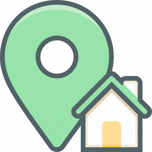 building, direction, estate, home, house, location, navigation icon