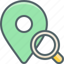 direction, find, glass, location, magnifier, navigation, search icon