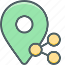 location, share, cloud, connection, direction, navigation, network