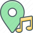 bar, direction, location, music, navigation, note, single icon