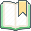 book, bookmark, education, favorite, like, notebook, open icon