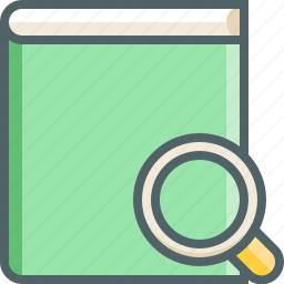 book, find, glass, magnifier, magnifying, notebok, search icon