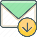 arrow, direction, down, download, email, inbox, mail icon