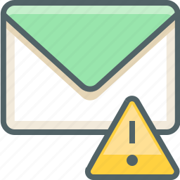 alert, caution, danger, email, inbox, mail, warning icon