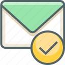 accept, check, email, inbox, letter, mail, mark icon