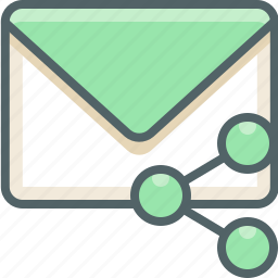 communication, email, inbox, mail, network, share, social icon