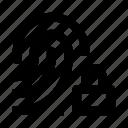 blocked, dactyloscopic, digital, fingerprint, protection, scan, security icon