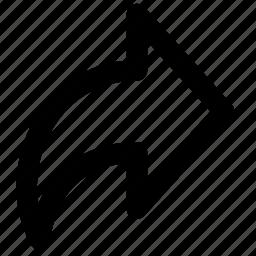 arrow, extract, forward, next, redo, right, rightward icon