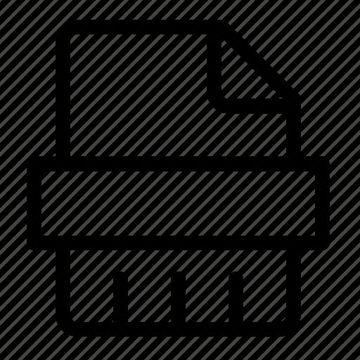 document, file, paper, printer, sheet, shred, shredder icon