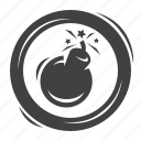 defeat, burst, bomb, explosion, destroyed, game, equipment icon