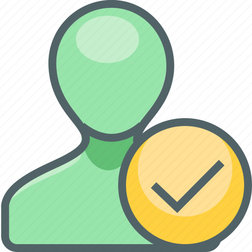 accept, account, check, mark, oke, profile, user icon