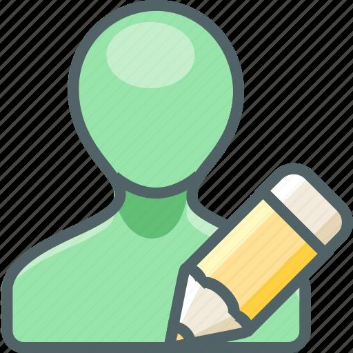 account, design, pen, pencil, profile, user, write icon