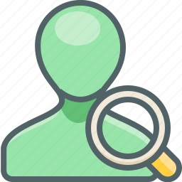 account, find, glass, magnifier, profile, search, user icon