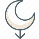 arrow, direction, down, forecast, moon, navigation icon