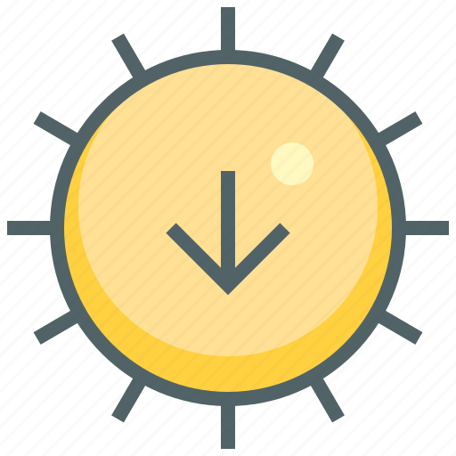 arrow, down, hot, navigation, sun, sunny, weather icon