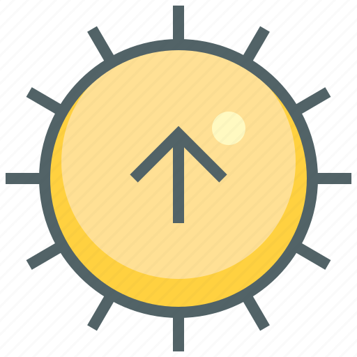 arrow, hot, navigation, sun, sunny, up, weather icon