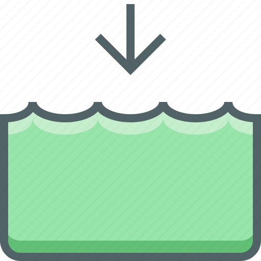 Down, level, water, river, sea, tide icon - Download on Iconfinder