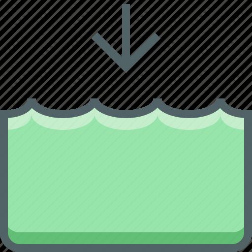 down, level, river, sea, tide, water icon