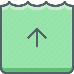 level, river, sea, tide, up, water icon