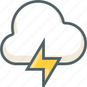 bolt, cloud, cloudy, forecast, rain, thunder, weather icon