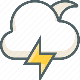 bolt, cloud, forecast, light, moon, thunder, weather icon
