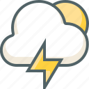 bolt, cloud, forecast, light, sun, thunder, weather icon
