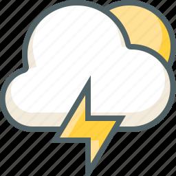 bolt, cloud, forecast, light, sun, thunder, weather icon