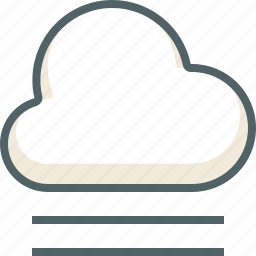 cloud, clouds, cloudy, forecast, line, weather, wind icon