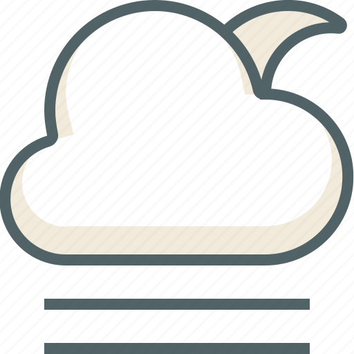 cloud, cloudy, forecast, line, moon, weather, wind icon