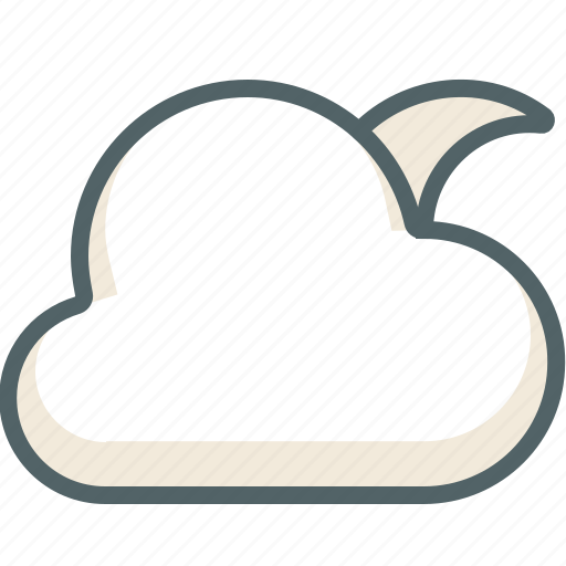 cloud, clouds, cloudy, forecast, moon, weather icon