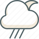 cloud, clouds, cloudy, forecast, moon, rain, weather icon