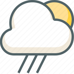 cloud, clouds, cloudy, forecast, rain, sun, weather icon