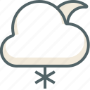 cloud, moon, snow, weather, cloudy, forecast, winter