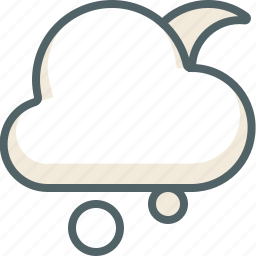 cloud, cloudy, forecast, moon, snow, weather, winter icon