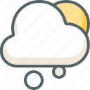 cloud, cloudy, forecast, snow, sun, weather, winter icon