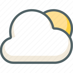 cloud, clouds, cloudy, forecast, morning, sun, weather icon