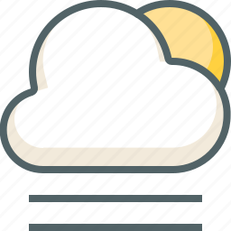 cloud, cloudy, forecast, line, sun, weather, wind icon