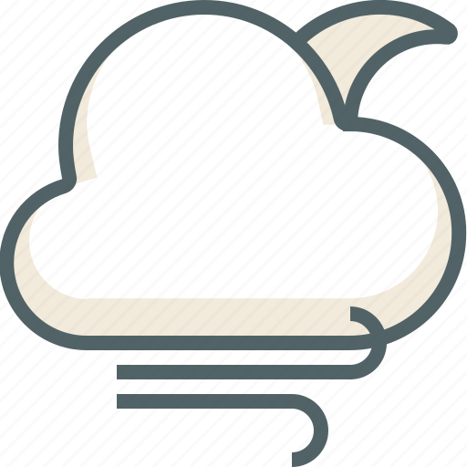 cloud, clouds, cloudy, forecast, moon, weather, wind icon