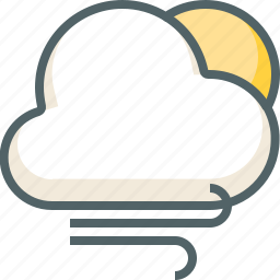 cloud, clouds, cloudy, forecast, sun, weather, wind icon