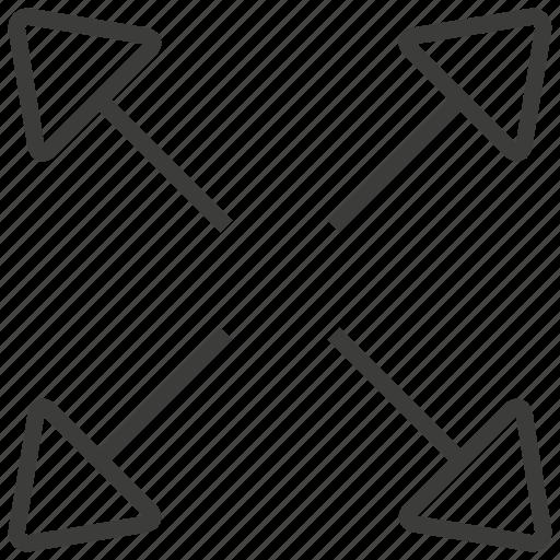 arrow, expand, maximize, navigation icon