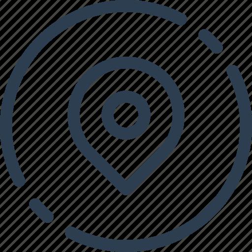circle, location, map, pin, pointer, ui, web icon