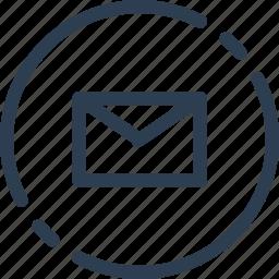 circle, letter, mail, messege, send, ui, web icon