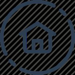 circle, home, house, main, ui, web icon