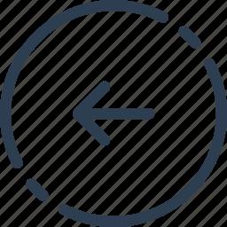 arrow, back, circle, left, previous, ui, web icon