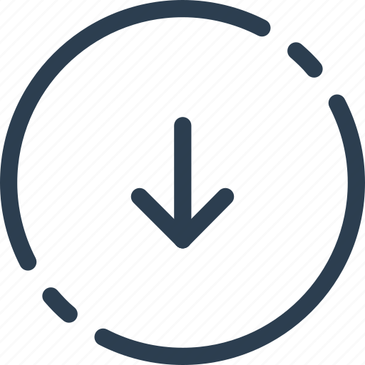 arrow, circle, down, next, ui, way, web icon