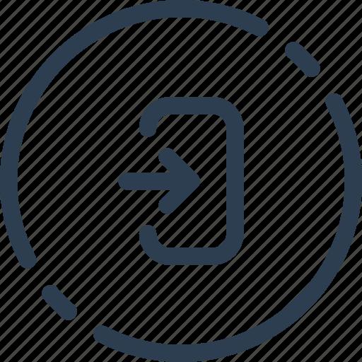 circle, in, log, login, sign, ui, web icon