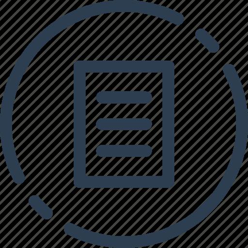 circle, doc, document, file, list, ui, web icon